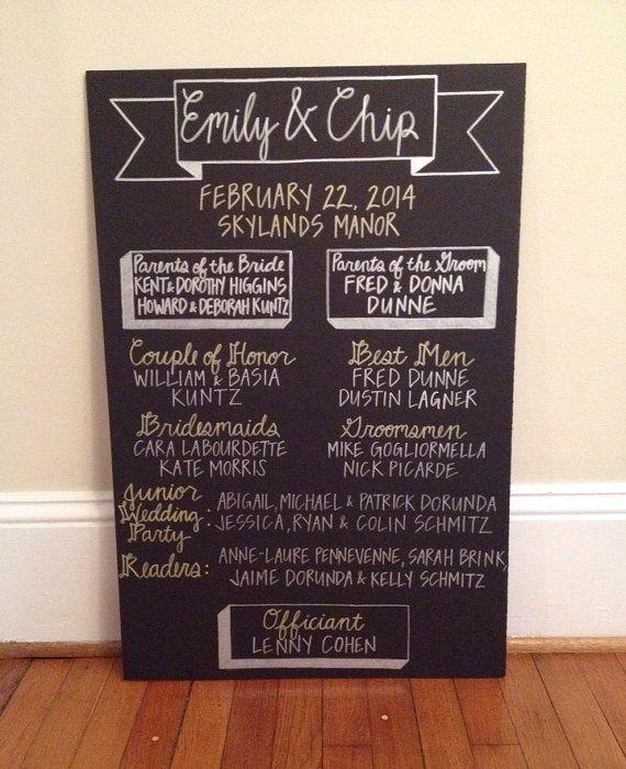 Custom Hand Drawn Wedding Program Chalkboard by BushyTailedDesigns, $80.00