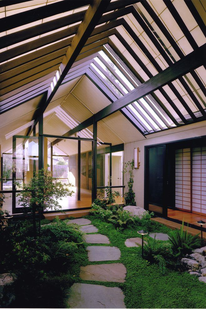 eichler atrium living room midcentury with painting d path lights