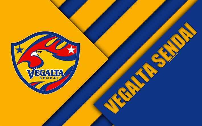 Download wallpapers Vegalta Sendai FC, 4k, blue yellow abstraction, material design, Japanese football club, logo, Sendai, Miyagi, Japan, J1 League, Japan Professional Football League, J-League