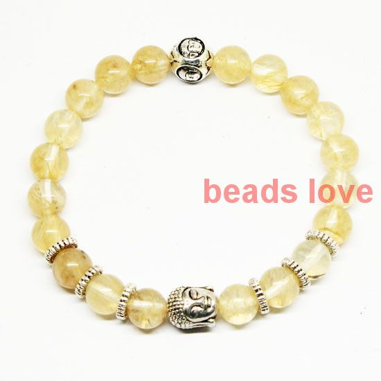 """Cheap bracelet bead, Buy Quality bracelet colors directly from China bracelet pearl Suppliers: 2016 Fashion Jewelry Men's and Women's Silver Tone Buddha Head With Natural stone """"Citrine Quartz Stone"""" Bracelets (W03355)"""