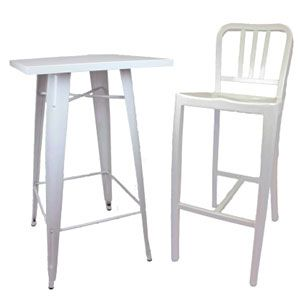 Tolix Table and Navy Stool
