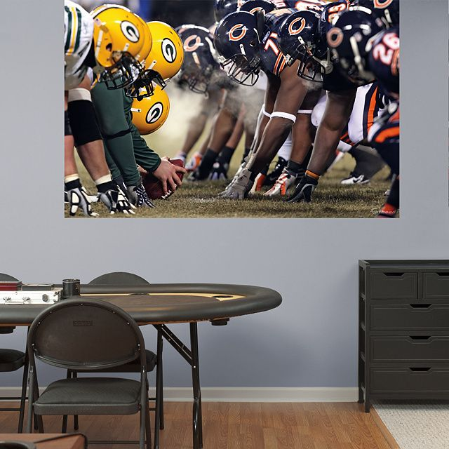 Bears-Packers Line of Scrimmage Mural REAL.BIG. Fathead – Peel & Stick Wall Graphic | Chicago Bears Wall Decal | Sports Home Decor | Football Bedroom/Man Cave/Nursery