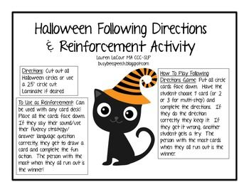 halloween following directions reinforcement activity - Halloween Following Directions