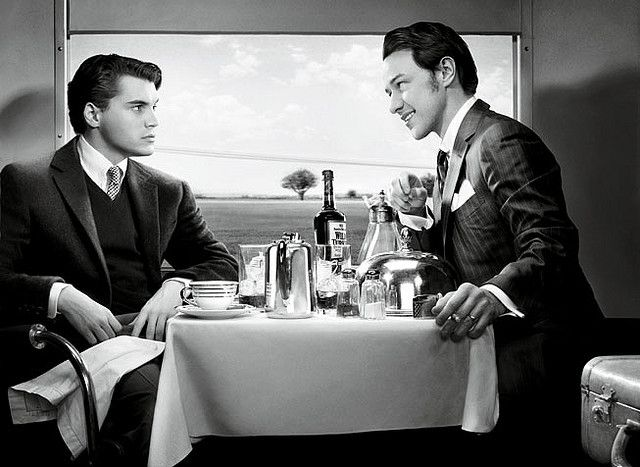 """Emile Hirsch and James McAvoy reenacting Hitchcock's """"Strangers on a Train (1951)"""" for Vanity Fair."""