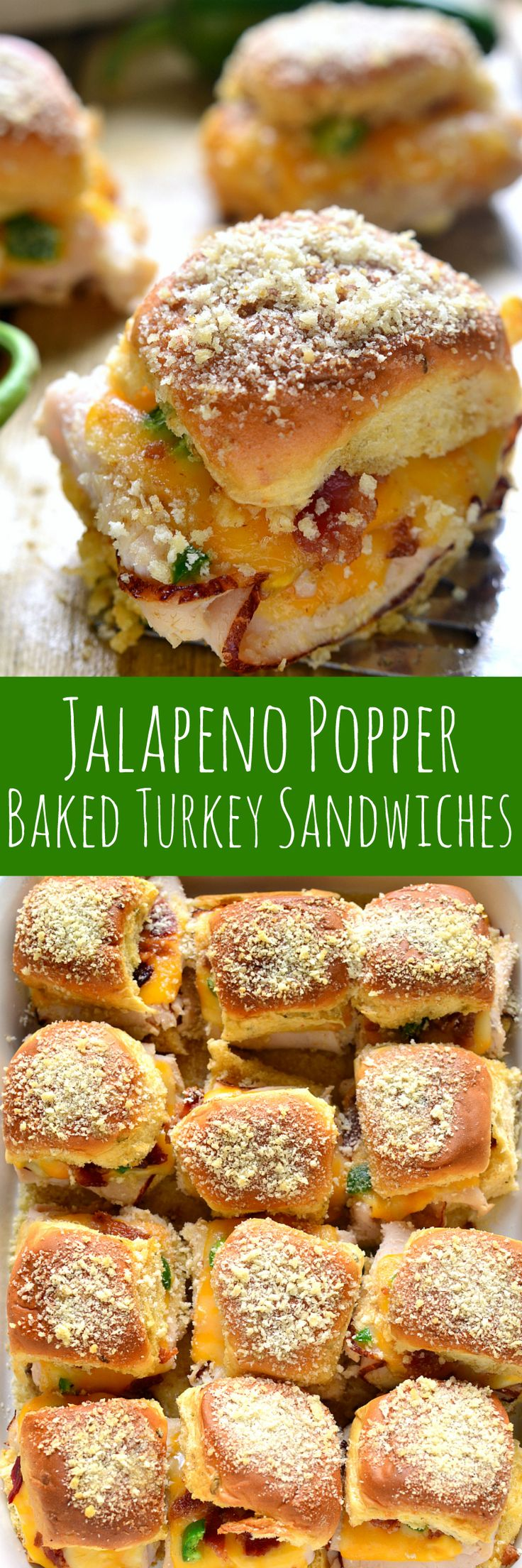 These Jalapeño Popper Baked Turkey Sandwiches are a delicious pairing of two fa…