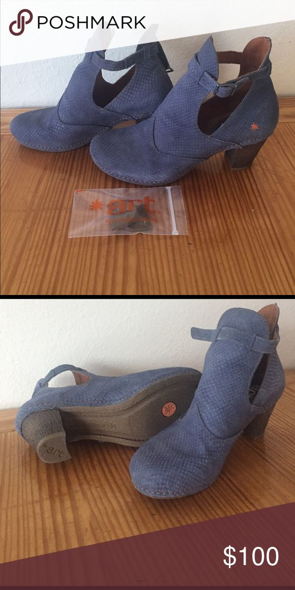 "Art buckle ankle boots Dusty blue Art ankle boots with 2"" heel. Comes with extra heel inserts. Art Shoes Ankle Boots & Booties"