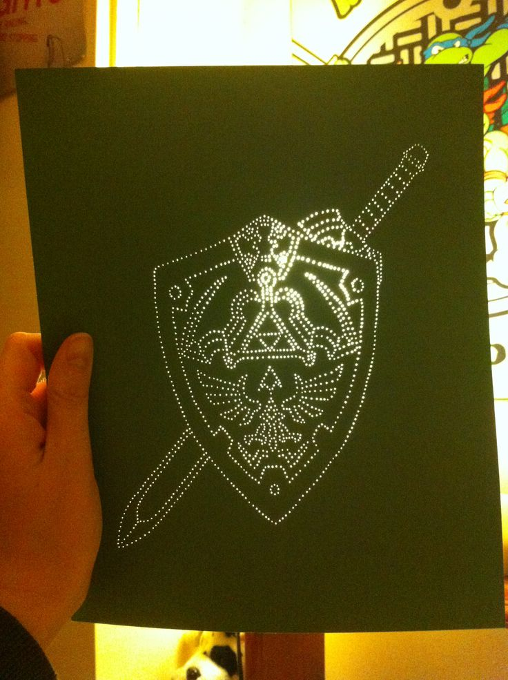 Sneak Peak! Link's Master sword & Hylian shield - pre-pricked holes by JSA. #JaimiesStitchedArt