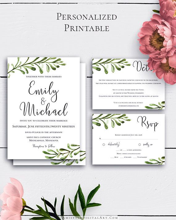 Printable Greenery Wedding Set with nice and simple watercolor greenery design for the lovers of the rustic style.Build your suite - choose your card combination by Amistyle Digital Art on Etsy