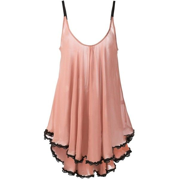 Fleur Du Mal lace trim babydoll (935 BRL) ❤ liked on Polyvore featuring intimates, lingerie, dresses, pink, baby doll lingerie, fleur du mal lingerie, babydoll lingerie, fleur du mal and silk lingerie