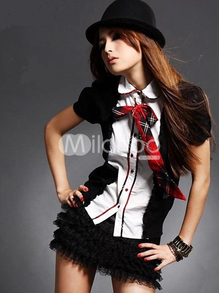 Two-Tone Spandex Woman's Sexy School Girl Costume - Milanoo.com