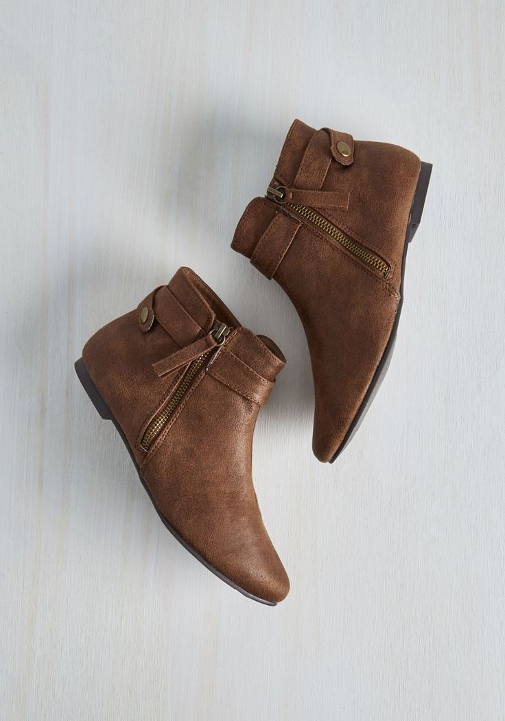 To the Dune and Back Bootie. Youre going places in these vegan faux-leather booties! #brown #modcloth