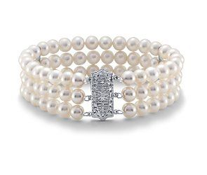Freshwater Cultured Pearl Triple Strand Bracelet with 14k White Gold Blue Nile