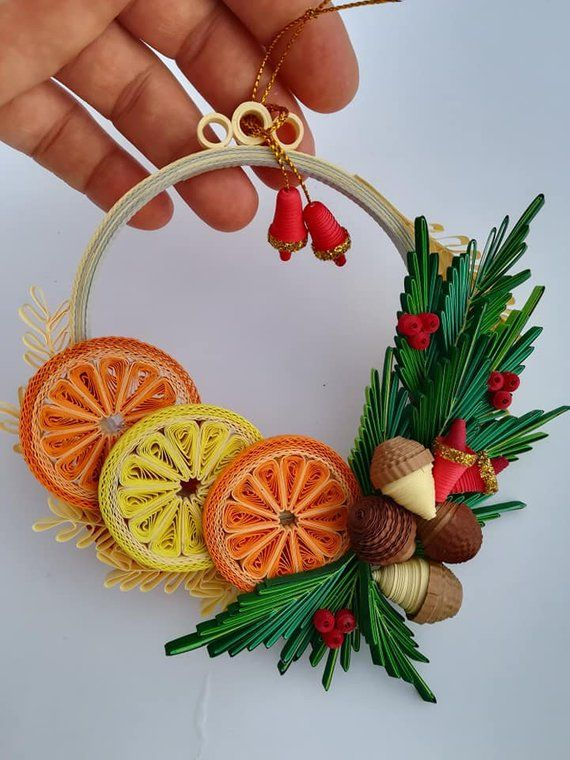 Quilling Quilled Christmas Tree Wreath Ornaments Xmas
