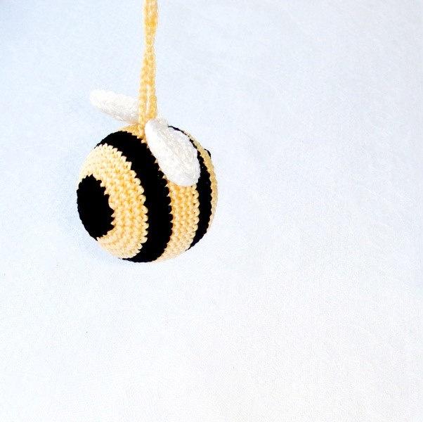 baby rattle - Bee - organic cotton - gift for baby - bumble bee - amigurumi - teething toy - crochet toy. $17.00, via Etsy.