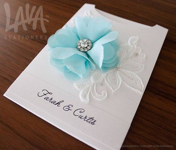 Lace and chiffon flower pocket wedding invitation by www.lavastationery.com.au