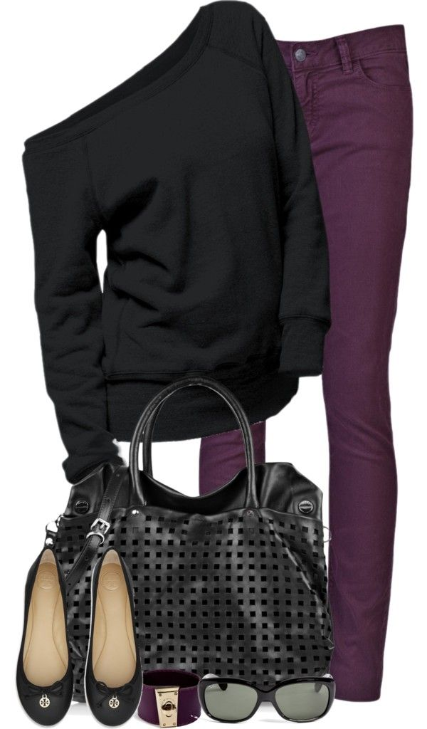 A comfy sweater (or sweatshirt) and colored jeans, love it! Plum and black is great for winter.