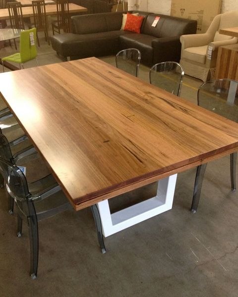 Timber top, white powder coated legs - industrial look dining table