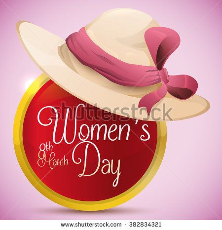 Elegant lady hat with pink ribbon and bow on top of glossy golden button with Women's Day message inside it