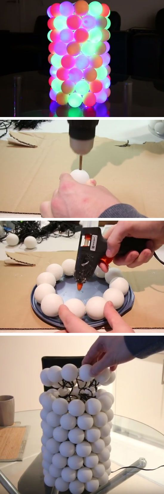 Illuminated Ping Pong Ball Lamp | Easy to Make Christmas Decorations for the Home