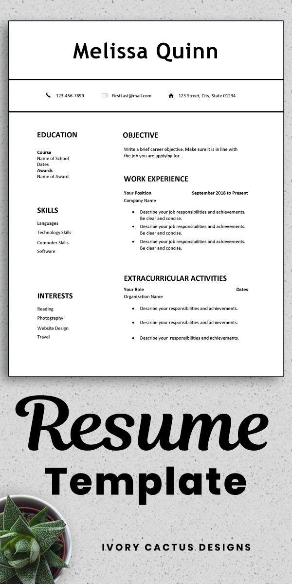 Student First Job Resume Templates