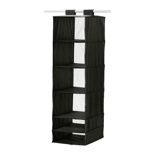 IKEA - SKUBB, Organizer with 6 compartments, black, , The hook and loop fastener makes it easy to hang up and move.It is easier to pull the boxes out of the compartments if you hold on to the strap at the bottom.