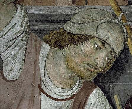 A guard in a painting of the Passion at Sanctuaire Notre-Dame des Fontaines, La Brigue.
