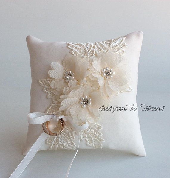 Champagne Wedding Ring Pillow Satin Lace Ring Pillow Ring Bearer Ring Cushion Ring Bearer Pillow Wedding Ring Pillow Wedding Pillow