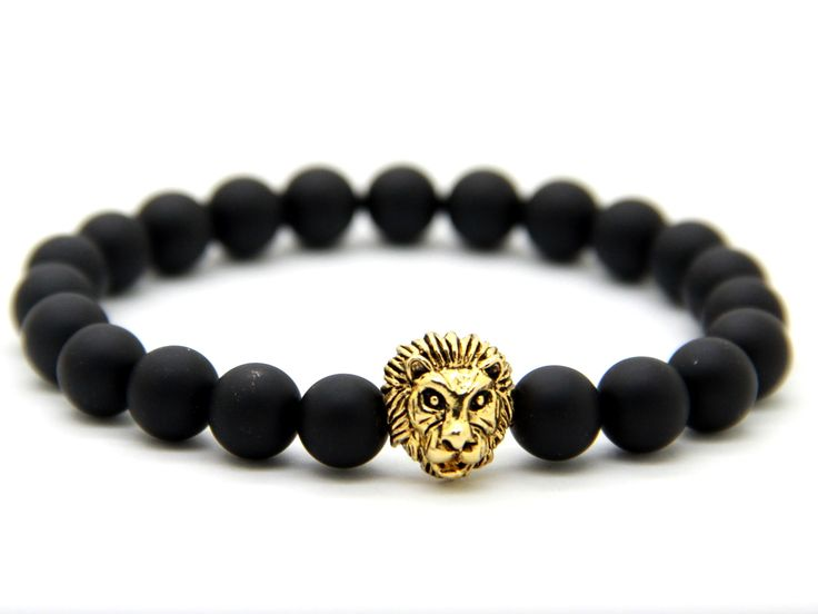 New Design Mens Bracelets Wholesale 8mm Matte Agate Stone Beads Real Gold, Silver and Rose Gold Plated Lion Head Bracelets