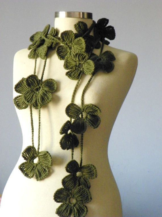 Crochet lariat scarf handmade crochet flower by yarnisland