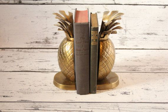 Vintage Brass Pineapple Bookends Set Authentic Mid-Century Weighted With Patina Book 1960s Tropical Beach Tiki Coastal Theme Pair Pineapples