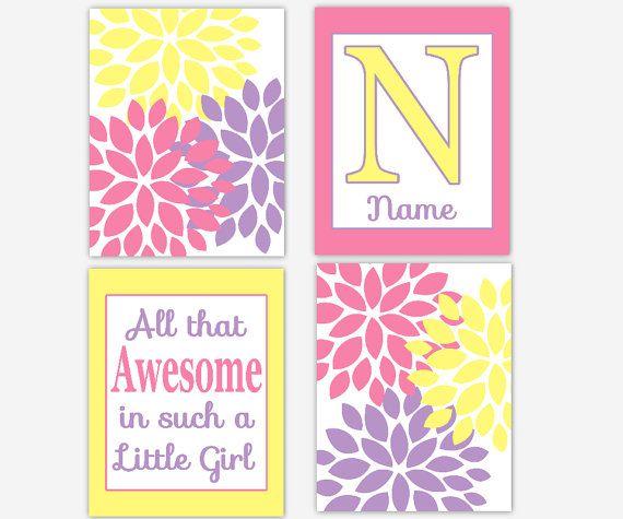 purple pink and yellow girls room | Baby Girl Nursery Decor Yellow Purple Pink Flower Burst Dahlia Mums ...