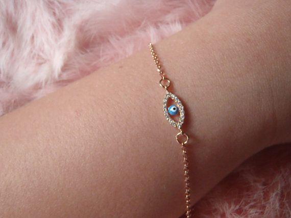 Evil eye bracelet Valentine's Day Gift rose by JewelryFamousWorld