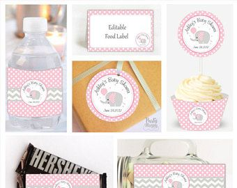 Personalized Pink Elephant Party Set, Printable Polka Dot Baby Shower, Party Decor, Toppers, Labels and Wrappers- D915