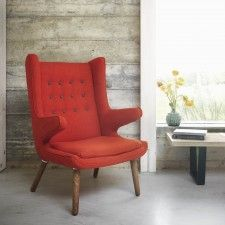 Pablo Burnt Orange Armchair with Grey Buttons