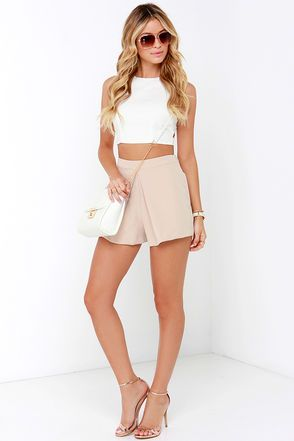 Chic Beige Shorts - Tailored Shorts - Pleated Shorts - $41.00