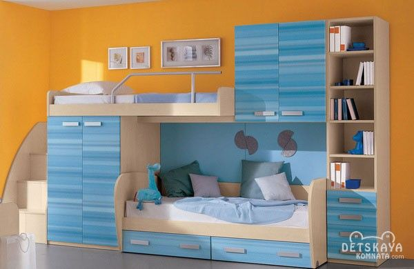 Детская двухъярусная кровати для мальчиков со шкафами