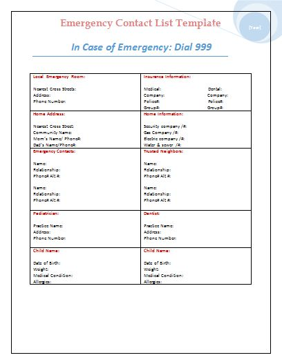Business emergency contact list template