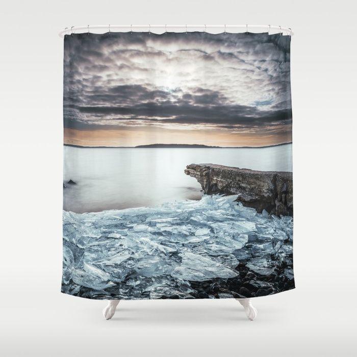 Frozen broken hearts Shower Curtain by HappyMelvin  #nature #wanderlust #winter #ice #homedecor #bathroom #showercurtains