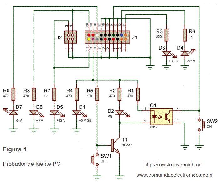 Circuito Regulador De Voltaje : Diagrama del probador de fuentes computadora