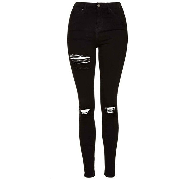 Women's Topshop Ripped High Waist Ankle Skinny Jeans (£62) ❤ liked on Polyvore featuring jeans, pants, bottoms, calças, stretch denim jeans, distressed denim jeans, high waisted stretch jeans, ripped jeans and destroyed skinny jeans