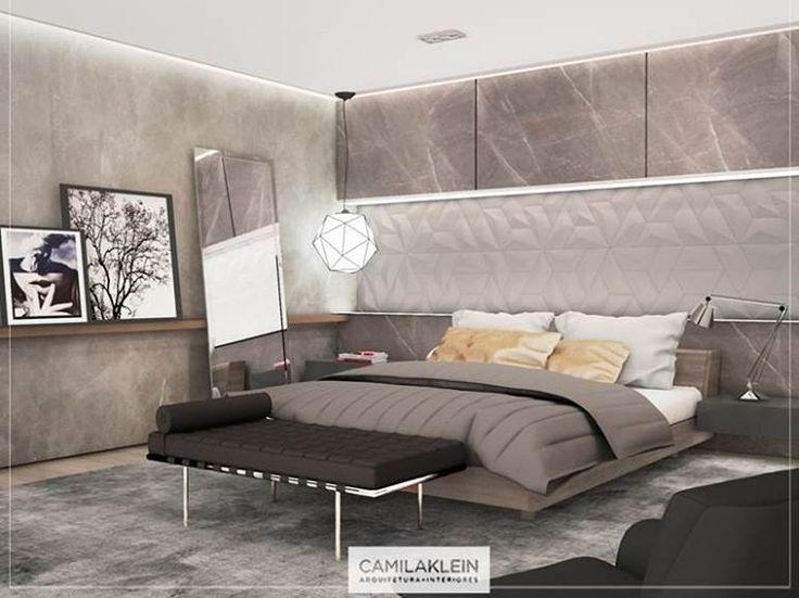 Contemporâneo...costumo dizer que o quarto é o cômodo de uma casa onde podemos relaxar e descansar para um novo dia. ⛅️ Para recarregar as energias, 🔋  o local deve ser, acima de tudo, confortável e aconchegante. Assim, acredito que móveis e revestimentos elegantes, além de uma boa iluminação, devem estar presentes para o bem-estar do cliente. #quarto #cama #camilakleinarquiteta #projeto #suite