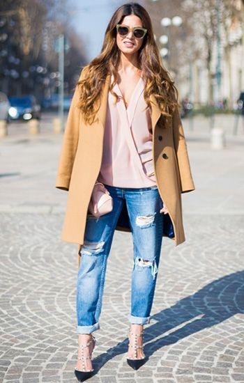 How to wear #camelcoat:  #denim + #pinktop + #rockstud pumps