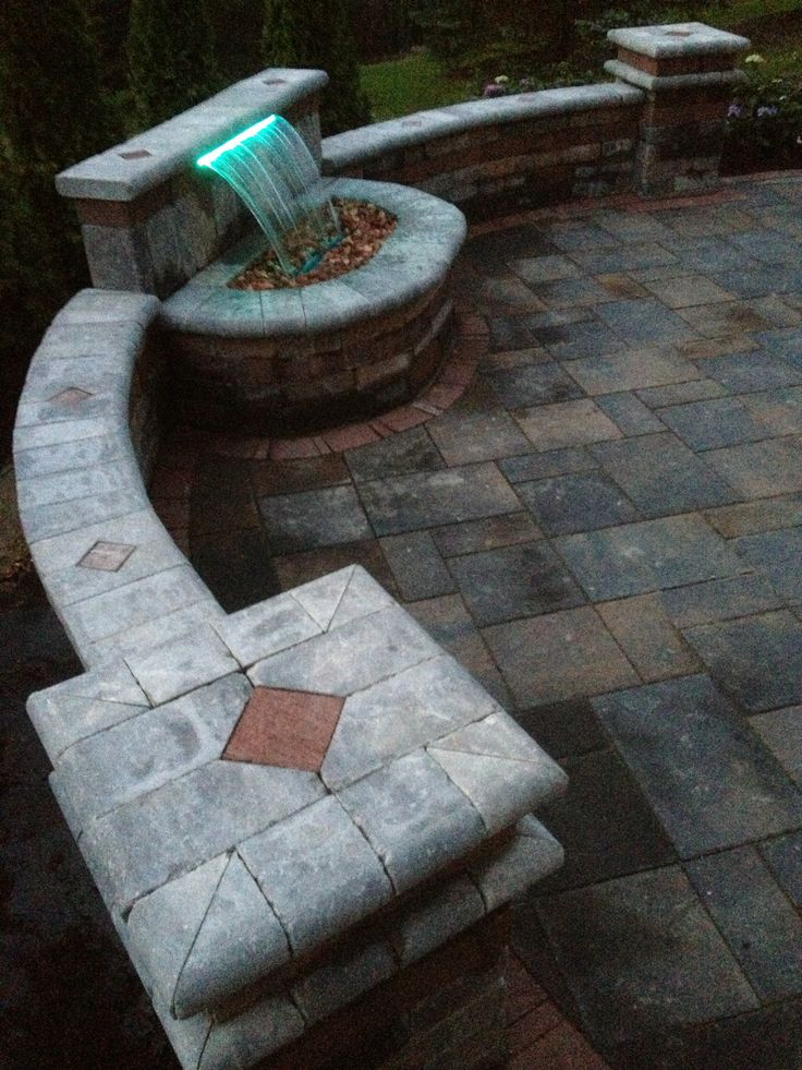 unilock brick paver brussels tumbled wall and 16 color led light and formal falls waterfall