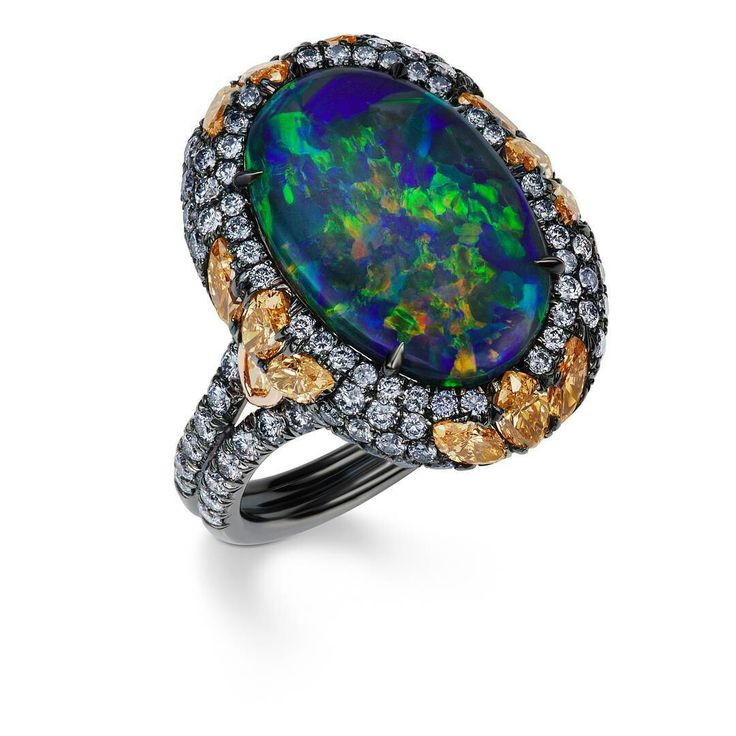 Commercial Art Lab, Best Opals ever! Opal Ring surrounded by blue diamonds @jfinediamonds