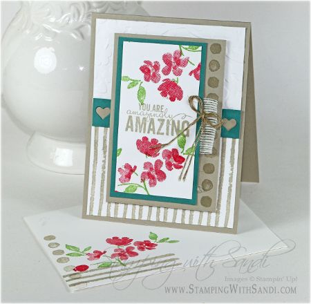 Stampin Up Painted Petals for Mojo Monday, card by Sandi @ www.stampingwithsandi.com