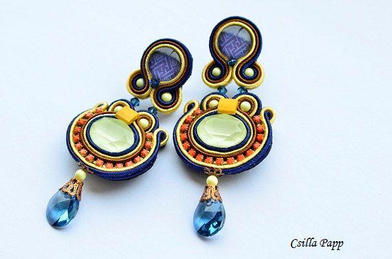 OOAK Danica Soutache earrings in yellow by CsillaPappJewellery