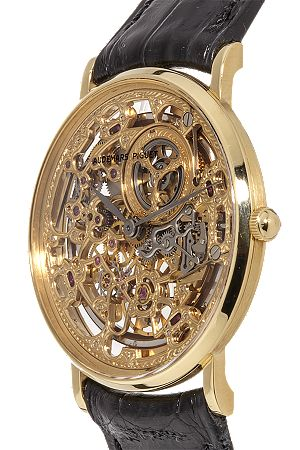 View the insides of this Certified Pre-Owned Audemars Piguet 18K Yellow Gold Skeleton Manual.