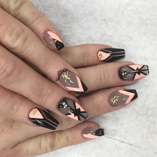 nailsbyly | User Profile | Instagrin Sheer black and peach coffin nails with design