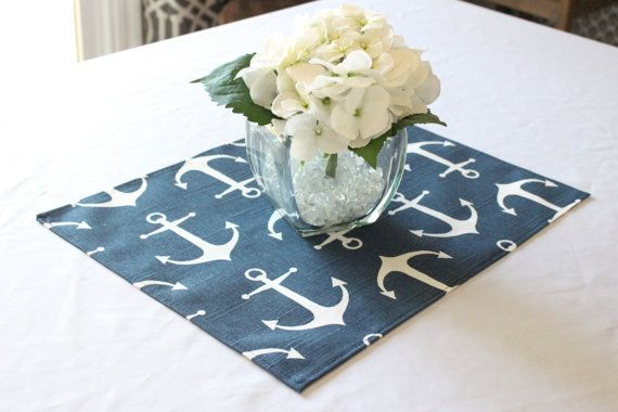 Navy anchor placemat - Nautical wedding decor - Nautical placemat - Wedding table centerpiece - Baby shower - Birthday party - Table square