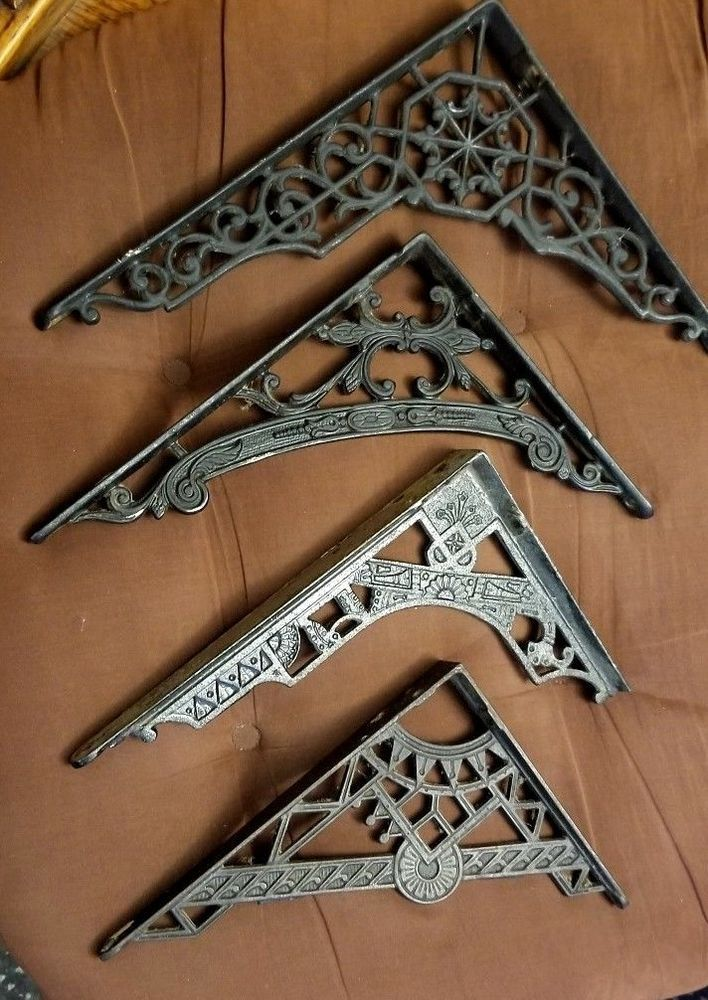 Antique Style Pair of Cast Iron Victorian Vintage  Shelf  Brackets